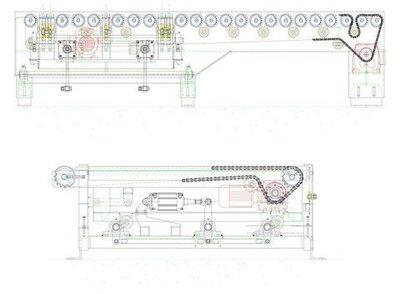Transporte de rodillos con transferidor